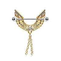 Gold Plated Angel Wing Nipple Ring with Chains