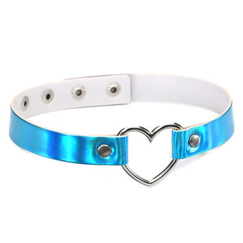 Leather choker necklace Holographic Choker Heart Metal Laser Collar Chocker s