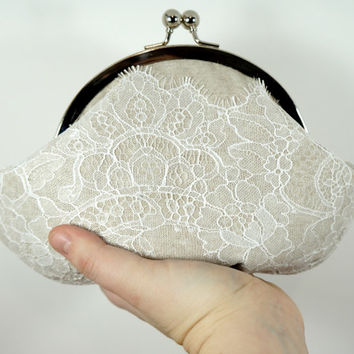 Linen and lace clutch, tan linen clutch with white chantilly lace overlay, framed clutch, personalized clutch, stamped charm, wristlet