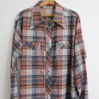 Vintage 70s Men's Blue & Orange Plaid Geometric Button Up Shirt