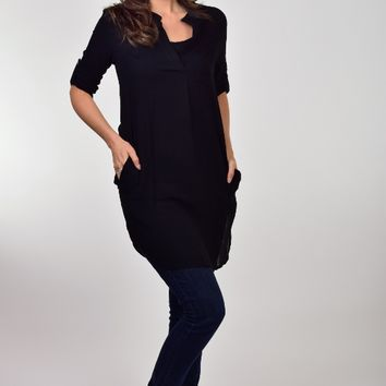 Hot & Delicious brand Black Tunic Dress with Pockets