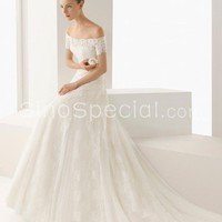 Fascinating White A-line Off-shoulder Neckline Court Train Lace Wedding Dress-SinoSpecial.com