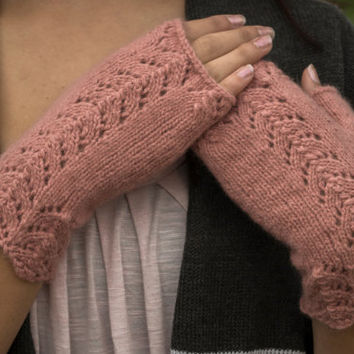 Fingerless Gloves/Mittens, 100% Cashmere, Dusty Rose Color