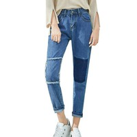 Stitching Jeans Patch Pencil Pants Ripped Jeans for Women Slim Trousers Plus Size XL Jean Feminino Solid Blue Skinny Denim Pants