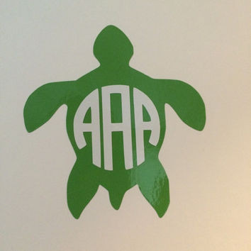 Turtle Monogram Decal - For Your Car, Laptop, Anything!