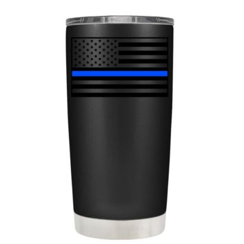 Blue Line American Flag on Black Matte 20 oz Police Tumbler