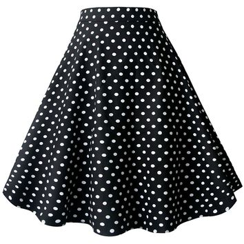 Atomic Black Polka Dot Rockabilly Skirt