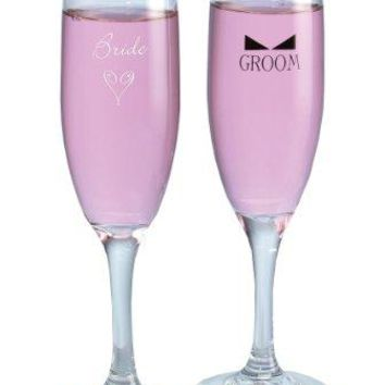 Hortense B Hewitt Wedding Accessories Bride and Groom with Bow Tie Champagne Toasting Flutes Set of 2