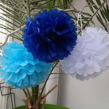 "Set of 3 Tissue Pom Poms Party Decoration Paper Pompoms Tissue Poms Wedding Decorations Ceremony Decor Paper Flower14""12""Turquoise Blue"