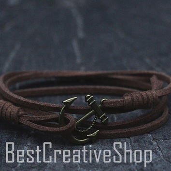 SALE! Anchor Bracelet / Brown Bracelet / Sea Nautical Suede Bracelet / Marine Bracelet / Mens Bracelet / Women Nautical Men Bracelet
