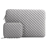 Mosiso Shock Resistant Diamond Foam Water Repellent Lycra Laptop Sleeve Bag Cover for 13-13.3 Inch MacBook Pro / Air,Notebook with Small Case, Gray