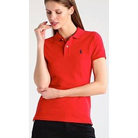 Polo Ralph Lauren Fashion Women Casual Pure Color Lapel Embroidery T-Shirt Top Tee Red I-KWKWM