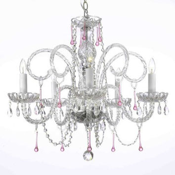 """Pink Crystal Chandelier Lighting H25"""" X W24"""" - A46-387/5Pink"""