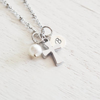 cross necklace, personalized jewelry, baptism gift, first communion gift, initial necklace, religious necklace, silver cross charm, faith