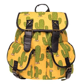 Creative Women's Canvas Lightweight Cactus Backpack Daypack Travel Bag