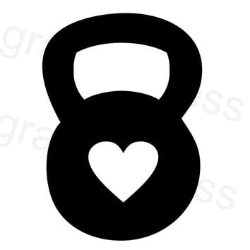 Kettlebell Heart Decal C2295