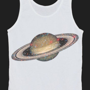 Saturn Galaxy Universe Colorful Tank Top Women Tops White Tee Shirt Tank Tops Size XS, S, M, L
