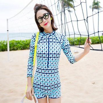 Women Long Sleeve Printed One Piece Swimsuit Breathable Comfy Zip Front Slim Surfing Swimsuit High Neck Sexy Bathing Suits