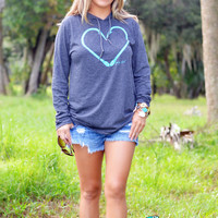 Seafoam Heart Hook Gray Sweatshirt