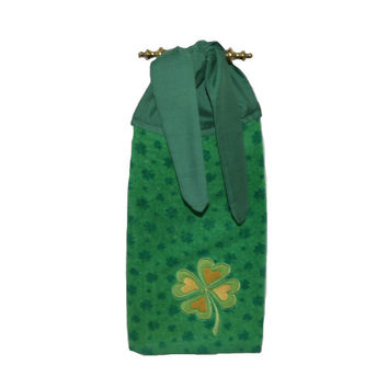 Irish Kitchen Towel, Shamrock Dish Towel, Irish Decor, Shamrock Towel, Shamrock Decor, Gift for Her, Tea Towel, Tie On Towel, Hanging Towel