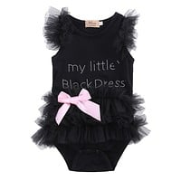 2016 New Baby Girls Clothes Infant Girls Lace Bodysuit 3-18M Kids Clothes Summer Sleeveless Bow Princess Babies Bodysuits Black