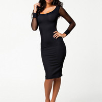 Black Long Sleeve Mesh Bodycon Midi Dress