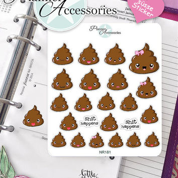 Sticker Sheet Emoji Shit Happens Erin Condren, Happy Planner, Filofax, Kikki K -NR181