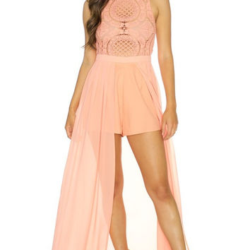 Medallion Maxi Romper - Peach