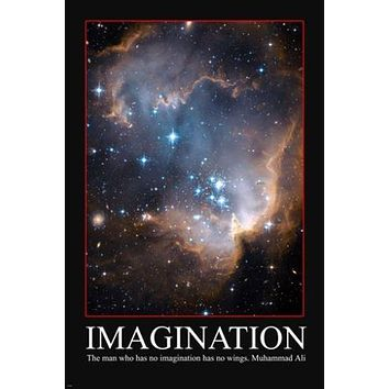 imagination INSPIRATIONAL POSTER shiny stars 24X36 w/ MUHAMMAD ALI QUOTE