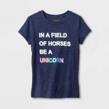 Girls' Short Sleeve Be A Unicorn Graphic T-Shirt - Cat & Jack™ Navy