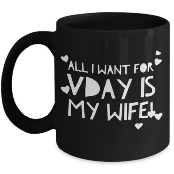 """Valentines Gift For Wifey - Valentine Gift For My Wife - Valentine's Day Gift For Anniversary & Birthday - Funny Valentines Day Gifts For Her From Him - Funny Valentines Day Gifts From Husband - Dish Washer Safe Black Ceramic 11"""" Vday Jar Cup For Couples"""