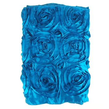 Satin Rosette Table Runner with Serged Edge, Turquoise, 14-Inch x 108-Inch