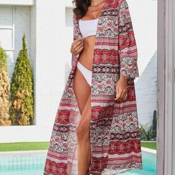 Red Boho Print Long Sleeve Open Front Beachwear