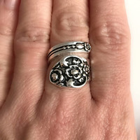 Silver Spoon Ring, vintage floral adjustable band wrap antique flatware anniversary Christmas romantic gift gifts for girlfriend wife