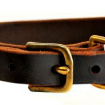 "Dean and Tyler ""B and B"", Basic Leather Dog Collar With Solid Brass Hardware - Brown - Size 10-Inch by 3/4-Inch - Fits Neck 8-Inch to 12-Inch"