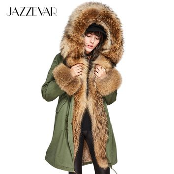 JAZZEVAR Women's Luxury Large raccon fur Collar Cuff Hooded Coat Detachable Rabbit Liner Parkas Outwear Long Winter Jacket