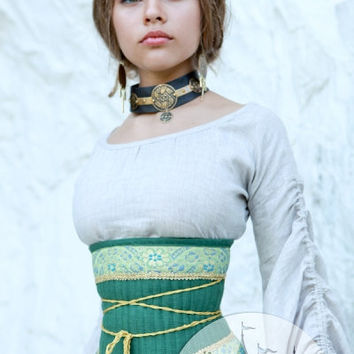 "Medieval Renaissance Flax Corset Belt ""Mistress Of The Hills"""