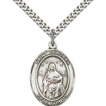 "Saint Deborah Medal For Men - .925 Sterling Silver Necklace On 24"" Chain - 30..."