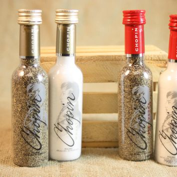 Salt & Pepper Shakers Upcycled from Chopin Vodka Mini Liquor Bottles, Salt and Pepper Shaker Set