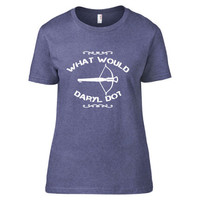 The Walking Dead Inspired Clothing - What Would Daryl Do? Heathered Crew Neck - Ladies