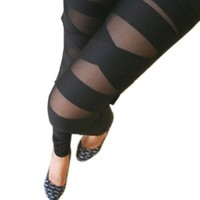 Women Ladies Girls Sexy Punk Solid Color Bandage Mesh Black Leggings Tight Pants