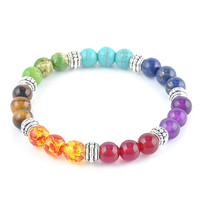 2016 New 1pc Mens Womens 7 Chakra Bracelets Bangle Colors Mixed Healing Crystals Stone Chakra Pray Mala Bracelet Jewelry t656
