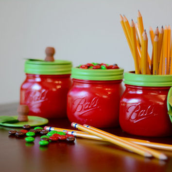 Apple Mason Jar Teacher Appreciation Gift Pencil Candy Holder - Set of Three