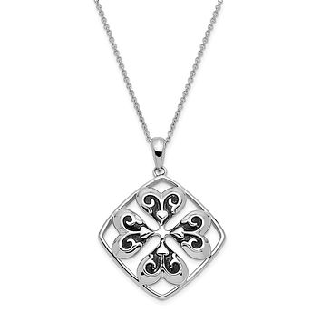 Sterling Silver Antiqued Wishing You Luck 18in Necklace
