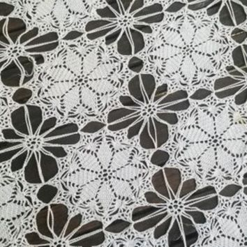 Vintage Crochet Table Cover White Oblong 67 x 43 Inch Tablecloth Runner