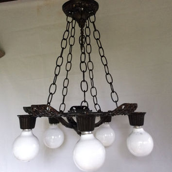 Antique Art Deco Polychrome Chandelier 5 Arms 5 Chains 1920s