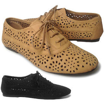 NEW Women's Lace Up Cut Out Hole Casual Flat Heel Oxford Shoes Flats BLACK TAN