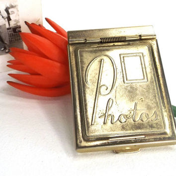 vintage 50s pocket size photo holder goldtone case metal box locket photograph container bauble collectible gift her mom girlfriend mother