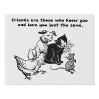 animal Pets friends quote Faux Canvas Art