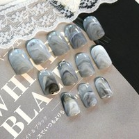 24Pcs/Set Grey Marble Design Lady Nails Acrylic Full False Nail Tips Nail Art Fake Nails Tools + Duo Side Sticker Z141